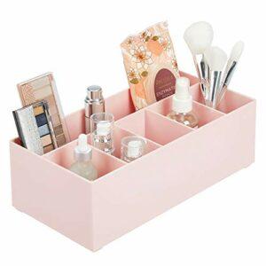 mDesign rangement cosmétiques pour lavabos ou table de maquillage – panier de salle de bain en plastique sans BPA pour maquillage – petite boîte de rangement avec 6 compartiments – rose