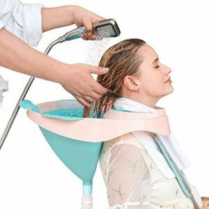 MTBASIN Portable Bacs pour Shampooing Lavabo à Shampooing Mobile Lit Bain Bol de shampooing de Cheveux Salon Outil avec Drainer Tube pour Personnes âgées, Désactivé, Alité et Handicapé