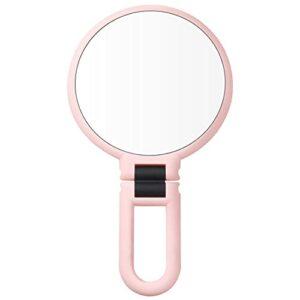 Nicejoy Miroir Maquillage Double Face Miroirs À Main Miroir De Table 10x Poignée Grossissant Miroir Suspendu avec Support pour Le Maquillage Rasage Coiffeuse Bureau Vanity Rose