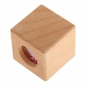Perfeclan Cube En Bois Hochet Anneau de Dentition Bébé Saisissant Des Jouets Bébé Fille Garçon Cadeaux de Douche – Rose Perles Cube