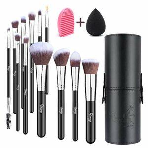 Qivange 12 pcs Kit De Pinceaux de maquillage Pinceaux pour les yeux Pinceau de Maquillage Synthétique Et Leur Étuis De Rangement,Beauty Blender Et Brosse Nettoyante