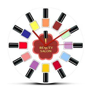 Rgzqrq Couleur Vernis à Ongles Bouteille Salon de beauté Studio Acrylique Salon de manucure Horloge Murale Montre Moderne manucure Technicien Cadeau 12 Pouces