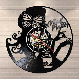 ROMK Horloge Murale Fait de Disque Vinyle Vintage manucure maître des Ongles Salon de beauté Horloge Murale Salon des Ongles Studio Signe d'affaires Technicien des Ongles Cadeau