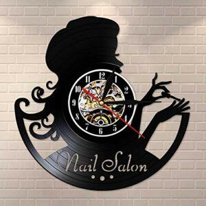 ROMK Horloge Murale Manucure rétro Montre Murale beauté Nail Salon Disque Vinyle Horloge Murale idée Cadeau pour manucure Salon de beauté Nail Bar Art Mur Signe