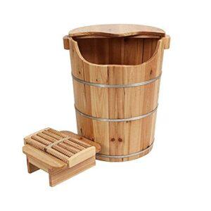 Seau debain de pieds enbois naturel, bassin de pédicure,45 cm de haut bain de pieds en bois bain de pieds bain de pieds relaxant bain de pieds maison barils en bois cadeau de soins de santé po
