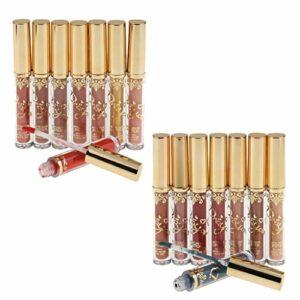Sharplace Pack de 16 Femmes Fille Maquillage Longue Durée Mat Métal Liquide Rouge à Lèvres Crayon Brillant à Lèvres Kit Outil de Beauté