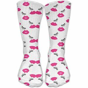 shenguang Chaussettes décontractées unisexes pour les lèvres et les cils roses