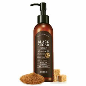 SKIN FOOD sucre noir parfait huile démaquillante 6,76 fl.oz. (200ml) – sucre noir et vin de riz contenues exfoliant doux makup remover huile démaquillante, peau lisse et effet nourrissant