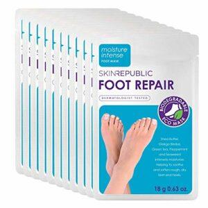 Skin Republic Lot de 10 paires de chaussons réparateurs pour pieds – Adoucit et lisse les peaux rugueuses et sèches