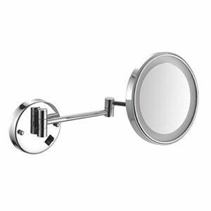 SMEJS Miroirs muraux de 8 Pouces Miroir de Rasage de Maquillage à grossissement 3X Miroir de Salle de Bain éclairé par LED de qualité supérieure pour vanité d'hôtel avec Prise UK Extensible réglable