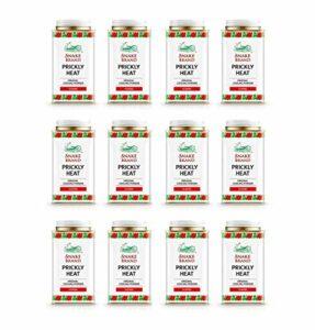 Snake Brand Prickly Heat Poudre rafraîchissante pour le corps 12 x 140g Prix de gros Multi-Pack pour la pharmacie ~ club de sport ~ magasin de santé ~ Spa santé