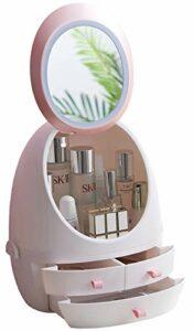 Sooyee Boîte de rangement moderne pour maquillage, bijoux et produits cosmétiques avec miroir lumineux LED, rangement pour salle de bain, commode, coiffeuse et comptoir (3 tiroirs)