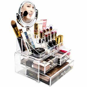 Sorbier Acrylique Maquillage et Bijoux étui de Rangement avec écran Amovible Miroir grossissant–Design–Parfait pour Salle de Bain, Commode, Meuble, et Plan de Travail