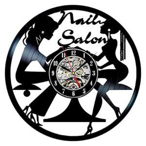 Usmnxo Nail Salon Disque Vinyle Horloge Murale Nail Studio Horloge en Vinyle Horloge Murale Salon De Beauté Décoration avec Lampe 12 Pouces (30 cm)