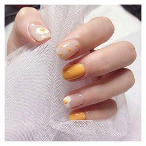 WEIGENG Faux ongles de couleur unie avec motif dessin animé, mignons, pour femmes.