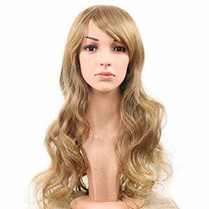 WIG Femmes Mat Slant Bangs Long Curly High Température Haute-Toilette Simulation Simulation Fashion Wig Gold BJY969