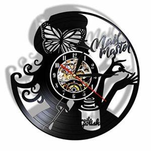 XYLLYT Manucure Disque Vinyle Horloge Murale Salon de beauté décoration Salon de manucure Studio tenture Murale décoration Cadeau Fille