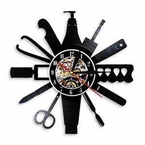 XYLLYT Soins des Ongles Design Moderne Horloge Nail Salon Outils Nail Art rétro Disque Vinyle Horloge Murale Salon de beauté décoration manucure Cadeau