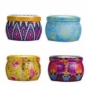 Yukong Lot de 4 bougies parfumées en cire de soja naturelle végétalienne avec boîte de voyage, aromathérapie, bain, yoga, cadeau pour femme, fête des mères, anniversaire – – 4 pièces/ensemble