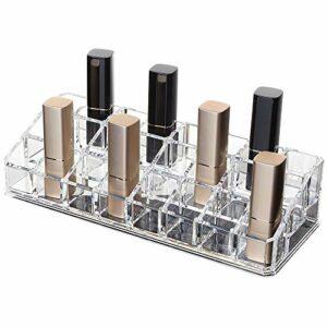 YunNasi Rouges à lèvres Support 24 Espaces Organiseur Cosmétiques en Acrylique Support de Maquillage Brillant à lèvres Boîte de Rangement pour Salle de Bain Vanity