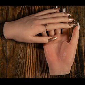 ZhuFengshop 1pcs Nail Art Fake Main pour Formation/Couleur de la Peau Silicone Souple Silicone Flexible Mannequin Modèle de Mannequin/Outil de Peinture (Color : B, Size : A Pair Hand)