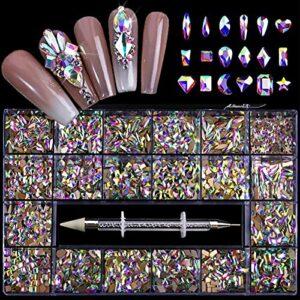 1000 Pcs Nail Art Strass, 19 Styles Flatback Nail Glitter Verre Bijoux Diamants pour la Décoration des Ongles, Maquillage, Décoration de Téléphone, Nail DIY Décoration en Verre avec Sélecteur de Stras