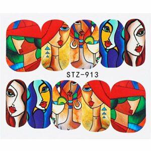 1pcs Stickers Ongles Lèvres Sexy Refroidissent Fille Stickers Eau Wraps Sliders for Ongles Décoration Colorée Women (Color : STZ 913)