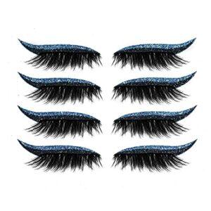 4 paires Eyeliner réutilisable Stickers Eyelash Stickers imperméable Stick sur Eyeliner EyeShadow Maquillage facile à utiliser et enlever pour les femmes filles (bleu)