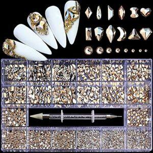 600 + 2500 Pièces DIY Nail Art Strass, Bijoux en Verre Brillant Diamants pour la Décoration des Ongles, Maquillage, Décoration de Téléphone, Décoration en Verre pour Ongles DIY, avec Sélecteur de Stra