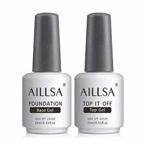 AILLSA Base Coat et Top Coat Semi Permanent UV LED Soak Off Vernis à Ongles Base et Top Coat Vernis Gel Nail Polish Vernis Semi Permanent