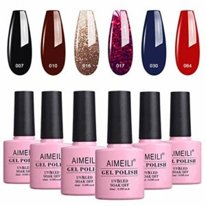 AIMEILI Soak Off UV LED Vernis à Ongles Gel Semi-Permanent Lot Color Mix/Multi-Colored Set Ensemble de Couleurs 6 X 10ml – Kit 21