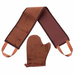 Amosfun Lot de 2 gants de toilettage arrière et bande applicateur double face Sunless Lotion Tanner Gants à rayures pour le visage, le dos, les épaules, le corps