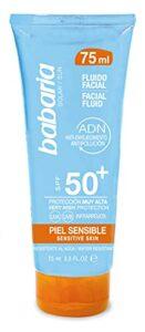 BABARIA Solar FLUIDO Piel, Solaire Fluide Peau Sensible SPF50 + 75ML Mixte, Negro, 75 ML