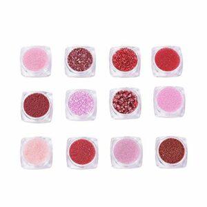 Beadthoven 70 g 12 couleurs 3D Caviar Décoration pour ongles 0,6-3,5 mm rondes et chips Mini perles de verre Piezo en verre pour soins des ongles sans trou, cristal rouge