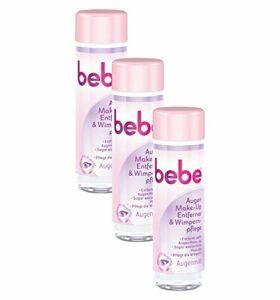 Bebe Yeux Démaquillant & Soin des cils – Nettoyage lait pour le visage et les yeux – Sans parfum ni alcool – 3 x 125 ml