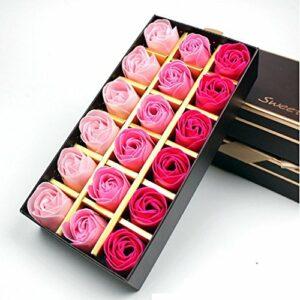 Binnan 18 Pièces Préservé Rose Parfumée Savon de Bain, Boîte Romantique Savon Rose Fleur Anniversaire Cadeau de Saint(Rose Rouge)