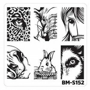 BM S152 Pochoir de stamping Motif monstre Bundlemonster Animaux Yeux sauvages Nail Art
