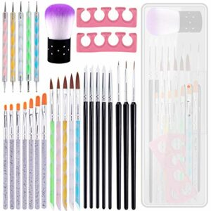 BQTQ 28 Pcs Kit de Pinceaux Nail Art Peinture Design Compr Pinceaux à Ongles en Gel UV Dot Stylos Sculpture Pinceaux et Séparateurs d'Orteils pour Acrylique Nail Art Peinture Outils