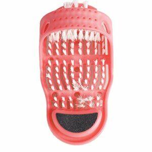 Brosse de massage en plastique pour chaussures de bain – Brosse de douche exfoliante pour pieds – Rouge
