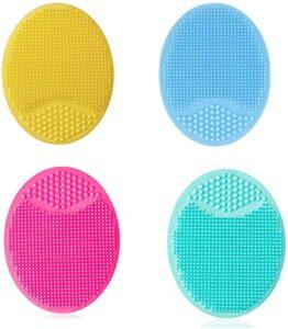 Buymoring Brosse de nettoyage du visage en silicone, brosse de nettoyage des pores, brosse de shampoing et de bain pour bébé, brosse de nettoyage du visage en silicone (4 brosses en silicone)