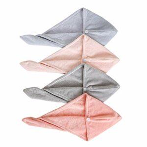 Cabilock Lot de 4 serviettes de séchage pour cheveux – Absorbantes – Séchage rapide – Avec bouton – Pour salle de bain et spa