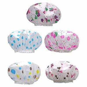 Cabilock Lot de 5 bonnets de douche épais imperméables et réutilisables en plastique élastique imprimé jetable, pour cuisine Daliy (couleur aléatoire).
