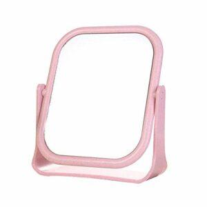 CAOLATOR Miroir de Maquillage Double Face Miroir de Table Grossissant 19 * 16cm Carré Miroir Coiffure pour Maquillage Rasage Toilettage Brossage Rose