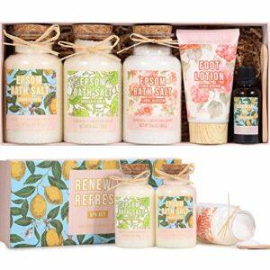 Coffret Cadeau Bio pour Fête Des Mères -Sel de Bain Relaxant (3X300g) pour Bain et Trempage des Pieds, avec Huile Essentielle de Citron et Lotion Hydratante pour Pieds- Cadeau SPA Detente pour Femme