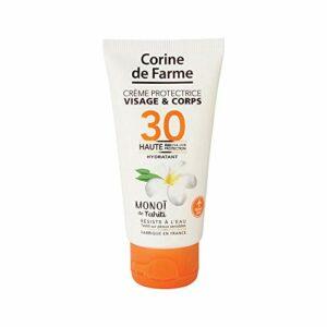 Corine de Farme | Crème Protectrice SPF30 Haute Protection UVA-UVB | Soin Solaire Visage et Corps Sans Paraben | Résistant à l'eau | Monoï de Tahiti | Format Pocket 50 ml
