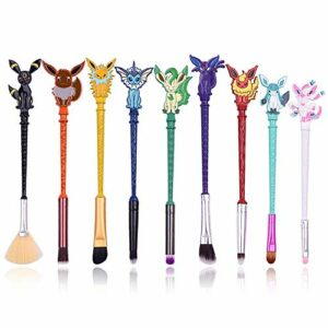 Cute Fairy Lot de 9 pinceaux de maquillage en fibre synthétique de qualité supérieure et poignée de dessin animé pour blush, fond de teint, sourcils, fard à paupières et lèvres, cadeau idéal pour sœur