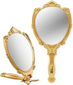 décoratifs Handheld Compact Miroir en Relief Papillon Motif Pliant Manche léger et Portable- 180degrés Full Folding- Premium de qualité Idéal pour Votre Maquillage Routine- Miroir de Voyage