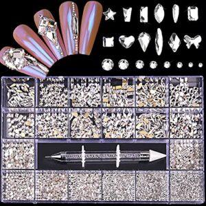 DIY Nail Art Strass, 13 Styles de Bijoux en Verre Brillant Diamants pour la Décoration des Ongles, Maquillage, Décoration de Téléphone, Décoration D'ongles en Verre Bricolage avec Sélecteur de Strass