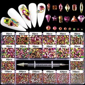 DIY Nail Art Strass, Bijoux en Verre Brillant Diamants pour la Décoration des Ongles, Maquillage, Décoration de Téléphone, Accessoires de Fournitures D'Art D'Ongles avec Sélecteur de Strass