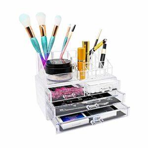 Dolovemk Lot de 2 boîtes de rangement en acrylique transparent pour maquillage et bijoux, avec tiroirs pour salle de bain, commode, coiffeuse et comptoir